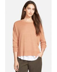 Eileen Fisher - Natural Boxy Knit Organic Linen Top - Lyst