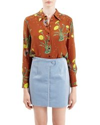 Topshop Unique | Brown 'windermere' Floral Print Silk Shirt | Lyst