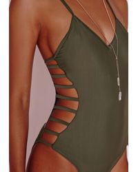 Missguided - Green Strappy Side Swimsuit Khaki - Lyst