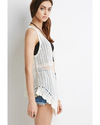 Forever 21 | White Asymmetrical Crocheted Vest | Lyst