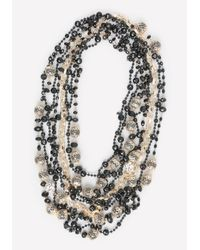 Bebe - Black & Gold Bead Necklace - Lyst