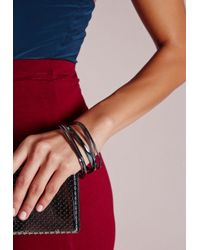 Missguided - Metallic Thin Stacking Bracelets Pewter - Lyst