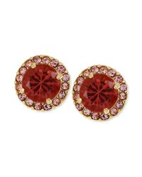 Betsey Johnson - Goldtone Pink Crystal Round Stud Earrings - Lyst