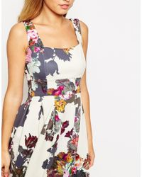 ASOS - Multicolor Cream Floral Debutante Midi Dress - Lyst