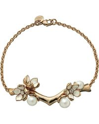 Shaun Leane | Red Cherry Blossom Rose-gold Vermeil, Ivory Enamel, Pearl And Diamond Branch Bracelet | Lyst