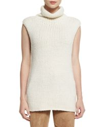 Theory - White Vandrona Sleeveless Turtleneck Sweater - Lyst