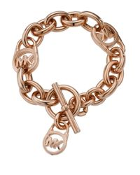Michael Kors | Pink Rose Goldtone Lock Toggle Bracelet | Lyst