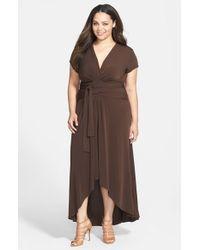d44b7ed73c MICHAEL Michael Kors High low Faux Wrap Maxi Dress in Brown - Lyst