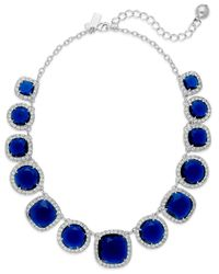 kate spade new york | New York Silvertone Crystalframed Blue Stone Collar Necklace | Lyst
