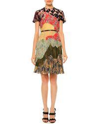 Valentino - Multicolor Pleated Short-sleeve Patchwork Silk Dress - Lyst