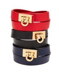 Ferragamo | Blue Leather Gancini Double Wrap Bracelet | Lyst
