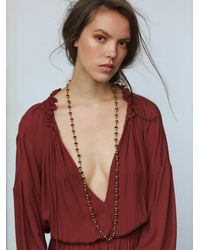 Free People | Brown Ela Rae Womens Mala Bead Necklace | Lyst