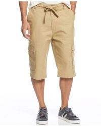 Sean John | Brown Big & Tall Linen-blend Cargo Shorts for Men | Lyst