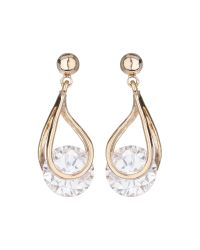 Mikey | Metallic Spinning Cubic Stone Drop Earring | Lyst