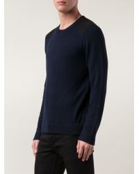 Rag & Bone | Blue 'Zeeland' Shoulder Patch Sweater for Men | Lyst