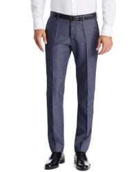 BOSS - Blue 'genesis' | Slim Fit, Virgin Wool Blend Melange Dress Pants for Men - Lyst