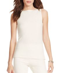 Ralph Lauren - White Lauren Wool-blend Sleeveless Sweater - Lyst