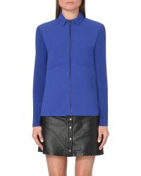 The Kooples | Blue Zip-fastened Chiffon Shirt | Lyst