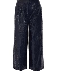 Tibi | Blue Nerd Cropped Sequined Crepe Wide-leg Pants | Lyst