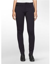Calvin Klein | Blue Jeans Faux Leather Detail Ponte Knit 5-pocket Leggings | Lyst