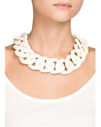 Mango - White Link Necklace - Lyst