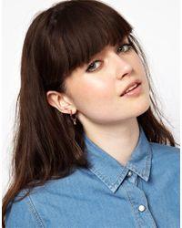 ASOS - Metallic Pack Of Three Mini Shape Hoop Earrings - Lyst