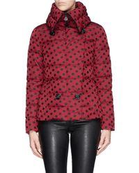 Moncler - Red 'palas' Polka Dot Down Jacket - Lyst