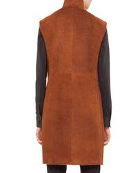 Akris Punto - Brown Long Reversible Shearling Fur Gilet - Lyst