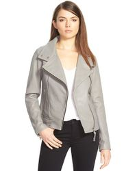 Mackage - Gray Stand Collar Lambskin Leather Jacket - Lyst