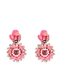 Shourouk | Pink Flower Aqua Earrings | Lyst