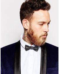 ASOS - Bow Tie In Black With Silver Metalic Triangles for Men - Lyst