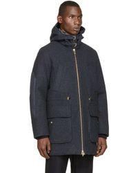 Moncler Gamme Bleu | Blue Navy Down Wool Coat for Men | Lyst
