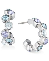 Givenchy | Metallic Silver-tone Blue Crystal Hoop Earrings | Lyst