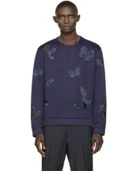Valentino - Blue Navy Butterfly Structured Pullover for Men - Lyst