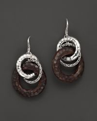 John Hardy | Brown Palu Silver Drop Earrings With Rose Wood | Lyst