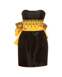 Moschino | Black Strapless Measuring Tape Dress With Bow | Lyst