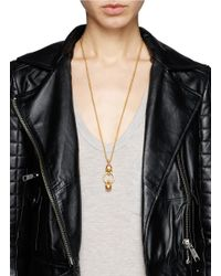 Alexander McQueen | Metallic Double Skull Ring Pendant Chain Necklace | Lyst