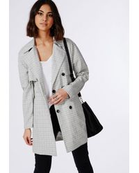 Missguided - Gray Check Buttoned Trench Coat Grey - Lyst