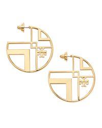 Tory Burch | Metallic Chevron Cutout Hoop Earrings with Logo | Lyst