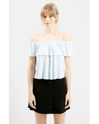 TOPSHOP - Blue Off The Shoulder Top - Lyst