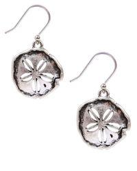 Lucky Brand - Metallic Silvertone Sand Dollar Drop Earrings - Lyst