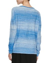 Vince - Blue Space-Dye Boat-Neck Top - Lyst