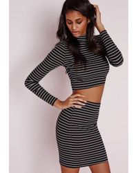 Missguided - Black Stripe Mini Skirt Monochrome - Lyst