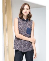Mango | Blue Print Pocket Top | Lyst