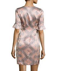 Nanette Lepore | Gray Marseille Flutter-sleeve Silk Sheath Dress | Lyst
