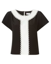 RED Valentino - Black Scalloped Contrasting Detail Top - Lyst