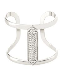 Lydell NYC | Metallic Crystal-studded Silvertone Cuff Bracelet | Lyst