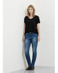 Violeta by Mango - Black Soft Fabric T-shirt - Lyst