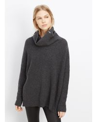 Vince - Black Wool Cashmere Zip-turtleneck Sweater - Lyst