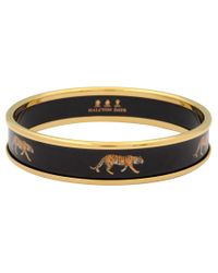 Halcyon Days | Black 18ct Gold Plated Enamel Tiger Motif Bangle | Lyst